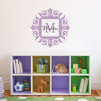 Girls Name & Initial Victorian Frame Decal - Girl Bedroom Wall Sticker - Girl Name Decal - Girl Initial Decal -  Children Wall Decals