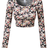 LE3NO Womens Floral Print Round Neck Long Sleeve Sleeve Crop Top With Stretch
