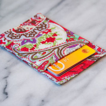 Red Paisley wallet - Business card holder - Business card case - Thin wallet - Slim card wallet - Card Case, Card Sleeve, Front pocket, OOAK