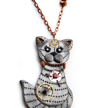 Cat steampunk necklace, Steampunk jewelry, Silver cat necklace, Steampunk kitten pendant, Watch particles cat pendant, Cat lovers gift, Pet
