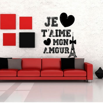 Room Wall Decor Vinyl Sticker Room Decal Art French Romance Love Quote Paris Hearts Je Taime Mon Amour 891