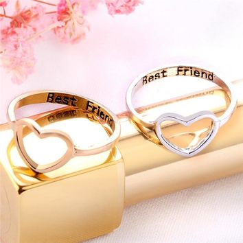 Ladies Best Friend Hollowed Out Big Heart Love Ring