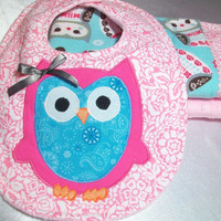 Baby Gift Set Owl - Appliqued Owl Baby Bib - Girl Burp Cloths - Minky Burp Cloths