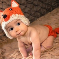 Newborn Baby Girls Boys Crochet Knit Costume Photo Photography Prop Outfits -n5 (Color: Orange) = 1958106500