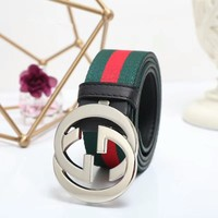 """Gucci"" Unisex Fashion Classic Multicolor Stripe Webbing Double G Needle Buckle Waistband Belt"
