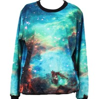 Indrah Neon Galaxy Colorful Patterns Print Sweatshirt Sweaters