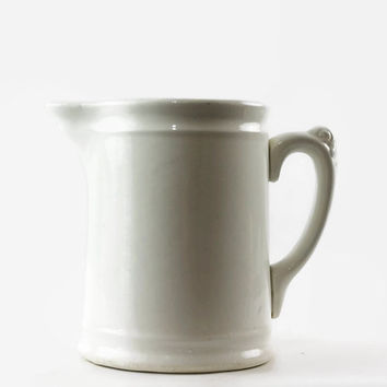 Antique Ironstone Milk Pitcher, White Farmhouse Pitcher, Homer Laughlin, Rustic Kitchen