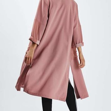 Contrast Panel Textured Duster Coat - Jackets & Coats - Clothing