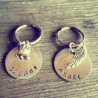 Hand Stamped Aluminum Keychains Cowboy and Angel