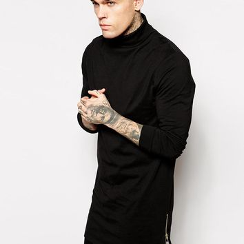 ASOS | ASOS Super Longline Long Sleeve T-Shirt With Roll Neck And Side Zips at ASOS