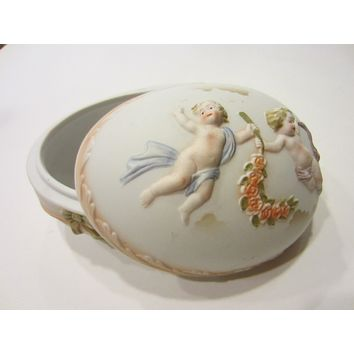 Royal Worcester Porcelain Bisque Majolica Covered Egg Box Floral Angels