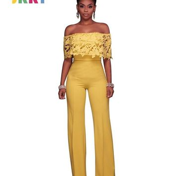 JRRY Casual Slash Neck Women Jumpsuit Off the Shoulder Top Long Loose Pants Ladies Romper Overall