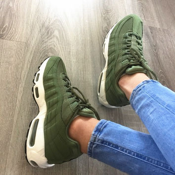 """NIKE"" Fashion Men Running Sport Casual Air max cushion Shoes Sneakers Army green G-CSXY"