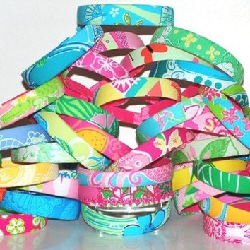 Preppy Headbands 10 Lilly Pulitzer Fabric One Inch Headbands Grab Bag- Preppy Mixed Patterns