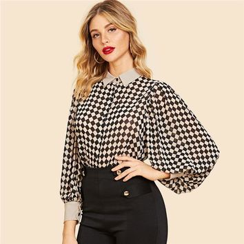 Vintage Bishop Sleeve Plaid Blouse Shirt 2019 Long Sleeve Blouses Women Shirts Ladies Tops