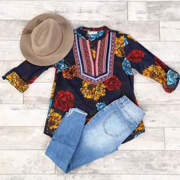 Embroidered Dark Floral Top