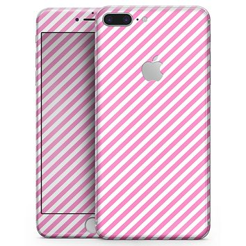 The Pink and White Slanted Stripes - Skin-kit for the iPhone 8 or 8 Plus