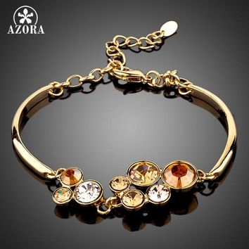 AZORA Sparkling Gold Color Round Stellux Austrian Crystal Water Drop Bracelet TS0012