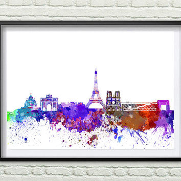 Paris Skyline Print, Watercolor Art, Paris Art, City Poster, City Skyline, Wall Art, Cityscape, Home Decor *14*