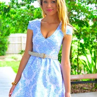 Metallic Pale Blue Print Dress with V-Neckline & Cap Sleeves