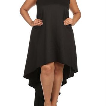 Plus Size Dip Hem Chic Black Maxi Shirt Dress, Plus Size Clothing, Club Wear, Dresses, Tops, Sexy Trendy Plus Size Women Clothes