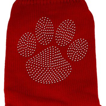 Clear Rhinestone Paw Knit Pet Sweater Xxl Red