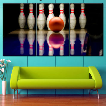 Bowling canvas, Bowling wall art, Split canvas, Wall decor ideas for living room, Bowling art, Elegant sport, Art Large Sport Print, To hand