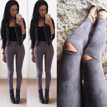 2016 Summer Women Faux Leather Skinny Pants Sexy Zipped Legging Stretch Slim Trousers Jeans