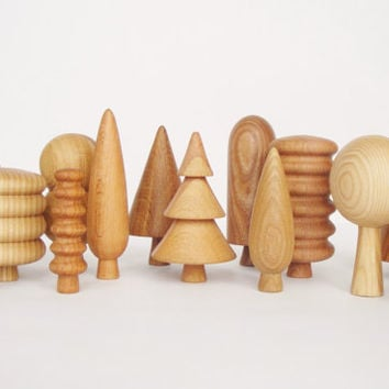 BIG Wooden Tree Set (14 pcs) Nature table Tree figurines Organic eco-friendly toy Wooden toys for kids Gift idea Learning toys