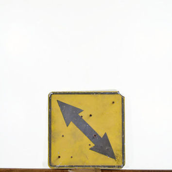 Vintage Arrow Road Sign, Metal Road Sign, Double Sided Arrow Sign, Rustic Sign, Old Metal Sign, Highway Sign, Street Sign, Yellow, Gray