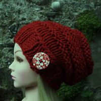 Hand Knit Hat Women's Hat- slouchy- beanie hat with button- Available in red,black or white color.