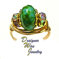 DWJ0414 Gorgeous Green Rolling Rox Czech Art Glass Gold Wire Wrap Ring All Sizes
