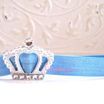 Save 15% FEATURED on DISNEY BABY / Princess Cinderella Blue Crown Newborn Headband / Baby Headband /Princess Tiara Headband / Girl Headband