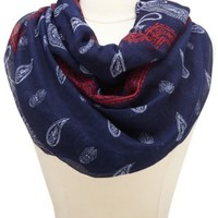 Paisley Bandanna Print Infinity Scarf by Charlotte Russe - Navy Combo
