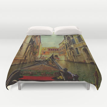 Venice, Italy Canal Gondola View Duvet Cover by Theresa Campbell D'August Art
