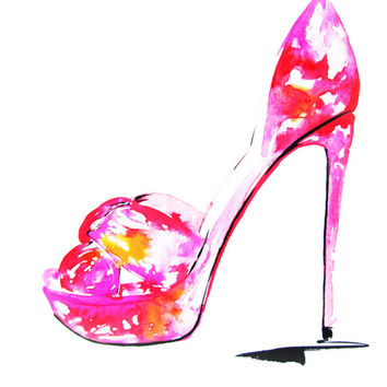 "Louboutin Shoes  8.5/11""- Art Print Fashion Illustration"