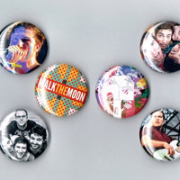 "Walk the Moon Set of 6 One Inch Pin Back Pinback Button Badge 1"" Six Pins Nicholas Petricca Kevin Ray Eli Maiman Sean Waugaman Indie Rock"