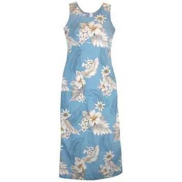 sky hawaiian long tank dress