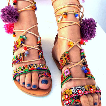 "Pom Pom Sandals, ""ITALIANA""  Leather Sandals, Gladiator sandals, Greek Sandals, Colorful Sandals, beaded sandals, boho"