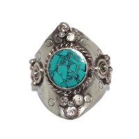 Adjustable Ring Silver Ring Turquoise ring Tribal Ring Yoga Ring Hippie Ring
