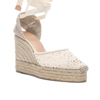Castaner Crochet Lace Carina Wedge Espadrilles in Natural | FWRD
