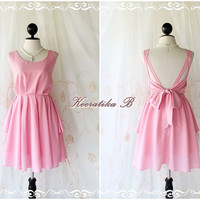 A Party  V Shape - Cocktail Prom Party Dinner Wedding Bridesmaid Gorgeous Night Dress Light Baby Pink Brush Backless Style