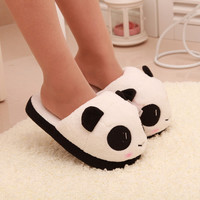 Women Ladies Soft Cute Panda Winter Warm Plush Antiskid Shoes Indoor Home Slipper Free Shipping