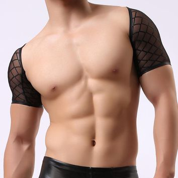 Man Wrestling Singlets/Male Funny Mesh Fishnet See Through Crop Tops Undershirts/Gay Sexy Plaid Sheer Vest Underwear