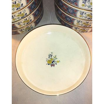 Noritake Cathay Blue And Yellow Flowers, Large Coupes, Bowl