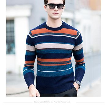Christmas Winter Thick Warm Merino Wool Sweater Men Knitted Cashmere Pullover Men Casual Striped O-Neck Pull Homme