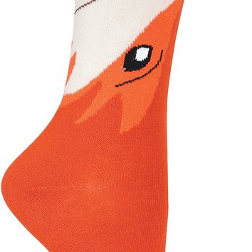 Wide Mouth Novelty Crew Socks-Fox