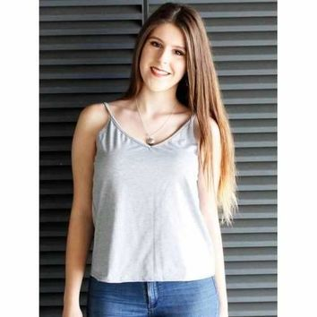 Sexy Spaghetti Strap Solid Color Low-Cut Tank Top For Women - Gray S