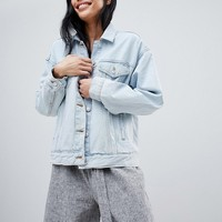 Pull&Bear Oversized Denim Jacket With Pocket Detail In Blue at asos.com
