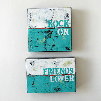 Original Acrylic Word Painting, Turquoise Art on Canvas, Home and Living, Friends, Lover,  Custom painting